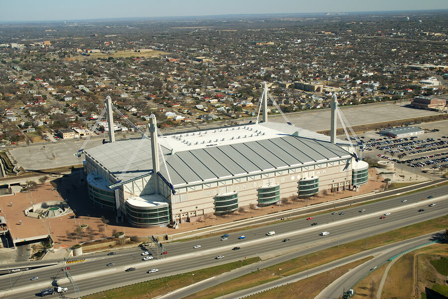 aerial view of Alamodome Stadium in San Antonio, Texas